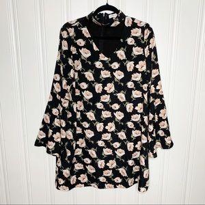 Sugarlips Black Floral Choker Dress Size Large